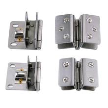 4Pcs Stainless Steel Double/ Single Unilateral Glass Doors Ginge Door Clip Hinge Bathroom/Display Cabinet Door Hinge Clamp