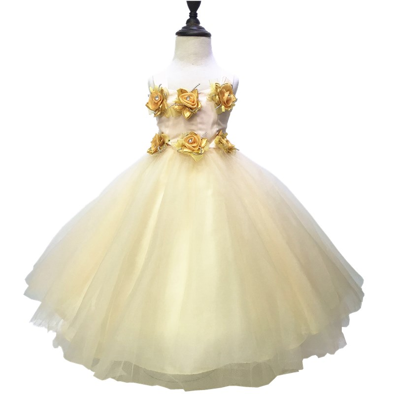 Free Shipping 2-10 Years Kids Party Dress 2018 New Style Tulle Ball Gown With Flowers Champagne Flower Girl Dresses For Weddings<br>