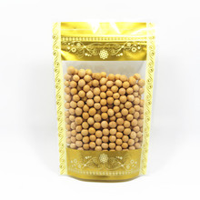 Retail 18*26cm 50Pcs/Lot Stand Up Ziplock Gold Clear Packing Bag With Window Self Seal Plastic Food Pack Grip Bag Package Bag