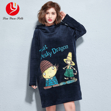 LINYUN Plus Size Women's Long Sleeve Pullovers Dress 2018 New Cartoon People Print Casual plus size Sweatshirt Hooded Dresses(China)