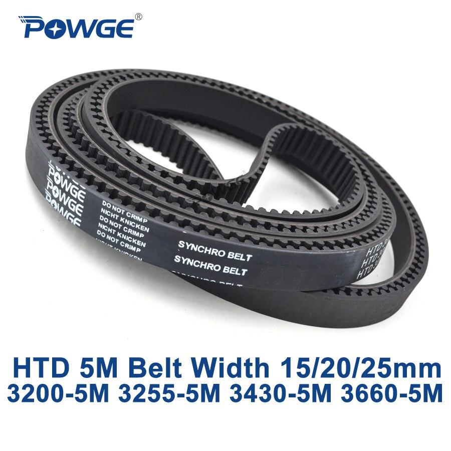 POWGE HTD 5M synchronous Timing belt C=3200/3255/3430/3660 width 15/20/25mm Teeth 640 651 686 732 HTD5M 3200-5M 3255-5M 3660-5M<br>