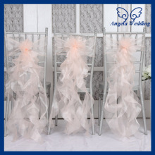 CH098G New arrival Discount 2015 cheap fancy wedding organza frilly blush pink chair sash