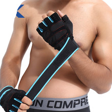 Gym Gloves Wrist Support Fitness Powerlifting Dumbbell Half Finger Glove With Wrist Bandage Antiskid Gym Accessories Wristband(China)