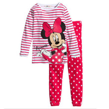 Xmas Cartoon Printed Children Girls Pajamas Sets Long Sleeve Sleepwear Sets Kids Girls Cotton Pyjamas 2016 Fall Girls Pajamas
