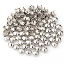 Sweet Center 100 Silver Copper Round Cone Rivet Spike Studs Spots DIY 8mm(China)