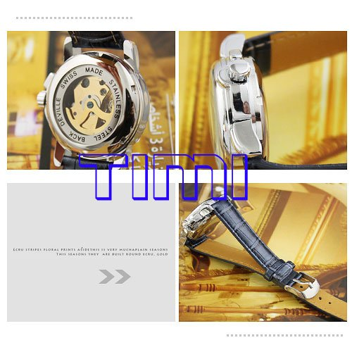 wholesale  Blue Heart Hollow Watch Automatic Women lady Leather<br><br>Aliexpress