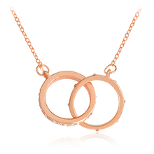 Starburst Link Necklace Double Loop Hollow Round Rhinestone Crystal Pendant Necklace Rose Gold Fashion Jewelry Gift for Women