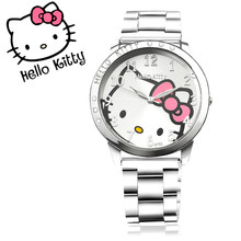 Hello Kitty Cartoon Watches Fashion Quartz Women Dress Watch Stainless Steel Rhinestone Watches Kids Clock Relog Hodinky Ceasuri(China)