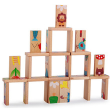 28 Pcs Animal Domino Block Wooden Block Anime Solitaire Montessori Educational Toy Baby Kid Learning Toy Domino