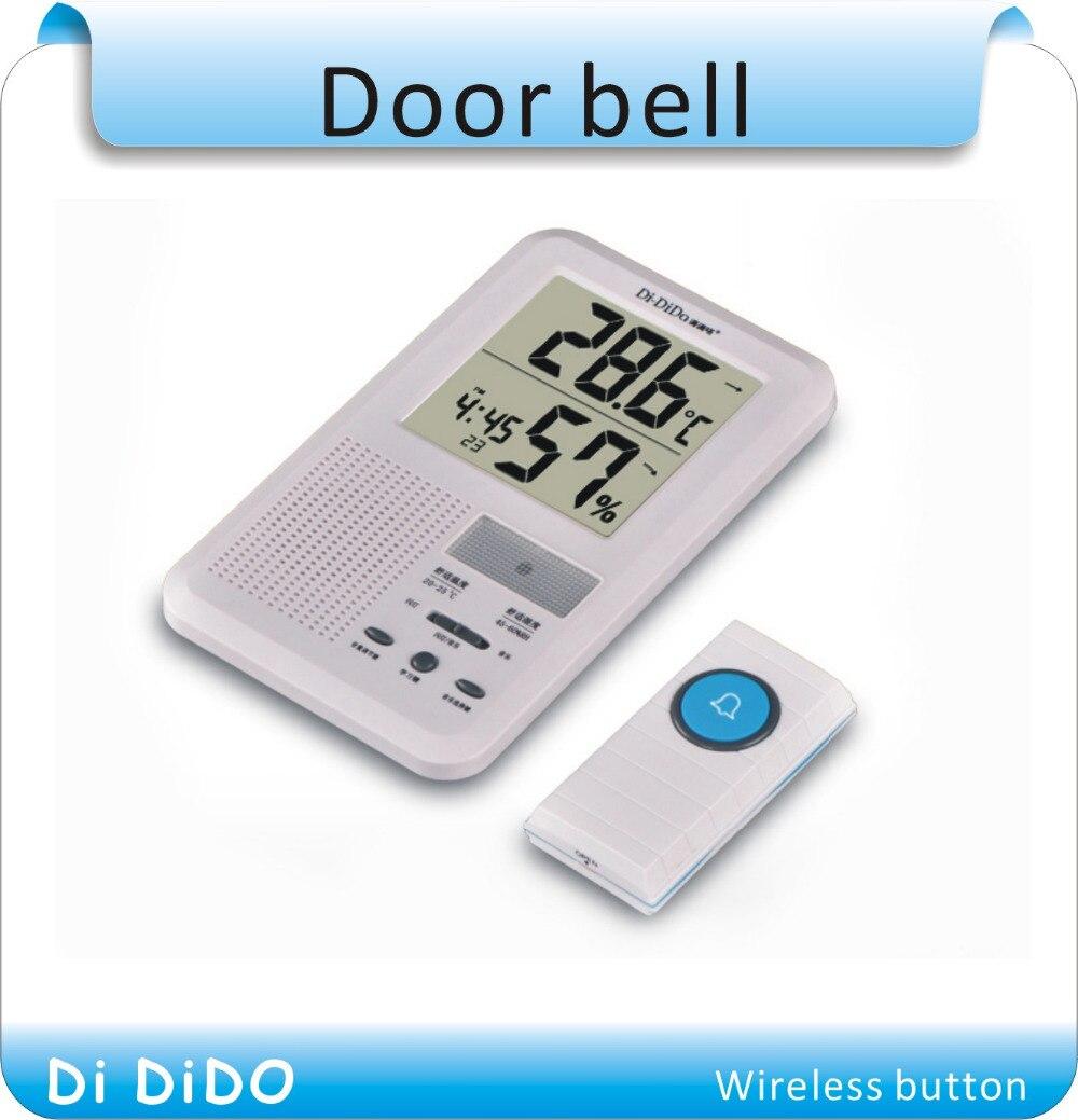 Free shipping  Multifunctional LCD Calendar Panic Alarm Clock Wireless Door Bell Transmitter Receiver Door Chime Door Bell <br>