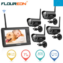 EU Shipping ! FLOUREON 7'' LCD 4CH Night Vision Wireless CCTV monitor DVR security Camera System Baby Monitor