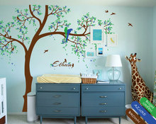 Playroom wall decals with personalized baby name and parrots snuggling, Wall tattoos, Nursery Wall Sticker Tree JW232