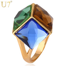 U7 Big Green Crystal Ring For Women Gold Color Party Jewelry Trendy Colorful Fancy Stone Statement Rings R352(China)
