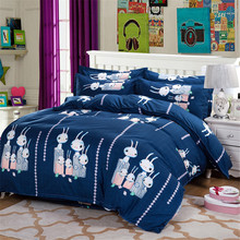 100% Polyester Kids Home Textiles Bedding Sets Cute Rabbit Family Deep Blue Quilt Cover+Pillowcase+Bed Sheet Twin/Queen/Double