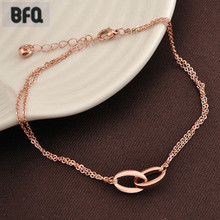 BFQ fashion double circle anklets for women rose gold color stainless steel double chain anklet foot jewelry leg chain barefoot