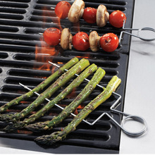 4pcs/set Stainless steel BBQ grill Clips Stainless Veggie Raft Double Wide Skewers Asparagus Espeto Para Churrasco Accessories