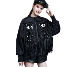 Winter Eyes PU Tassels Loose Bomber Jacket New Long Sleeves Women Down Coat Fashion Thick Warm Female Parker Plus Size SUN100