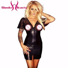 Wonder beauty Sexy lace Mesh spots Club Mini Dress Wetlook Kleid Vinyl Faux Leather Nightclub Vedtido De Festa Sexy Nightwear