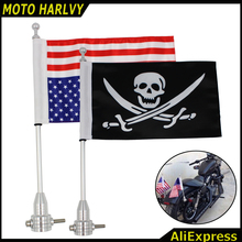 Chrome Motorcycle Rear Side Mount Flag Pole America Flag For Harley Luggage Rack