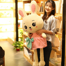 Fancytrader Pop Anime Plush Bunny Doll Giant Soft Stuffed Animals Rabbit Toys for Children Pink Green(China)
