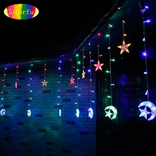 1X6M 168LED Beads Moon&Star Cutain String Light Droop 60/80cm Fairy String Lamps for Christmas Holiday Wedding Parties Decor(China)