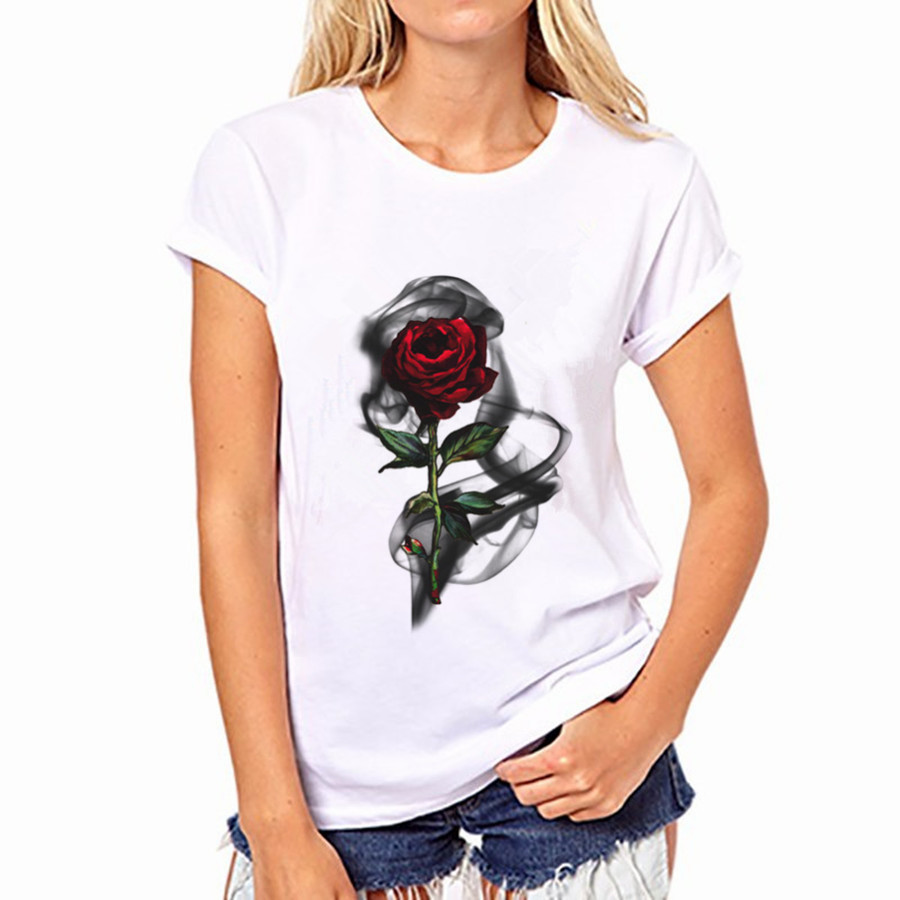 T shirt printing at white rose - Hot Sale Women S Rose Printed Customized T Shirt Lady Casual Slim Fashion Tops Girl S Funny Hipster Tee