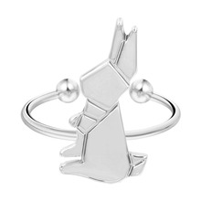 QIMING One Piece Rabbit Ring Bunny Ring Cute Animal Delicate Pretty Charming Ring Sweet Gift For Lovers Wedding Women Jewelry