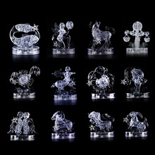 Twelve Constellations 3D Crystal Puzzle Transparent Glitter DIY Zodiac Sign Flashing LED Light Jigsaw Gift Funny Toys Decoration