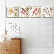 Unframed Birds Painting on Canvas Europe Home Decor HD Wall Art Picture Poster Oil Painting for Living Room Unique Gift 4 Panels
