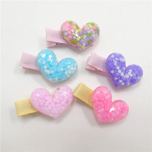 20pcs/lot Acrylic Heart Shape Hair Clips Plastic Purple Valentine Celebration Girl Barrette Resin Novelty Kid Hairpin Gift Grips(China)