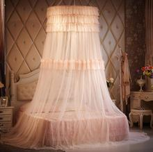 Luxury Brand Mosquito Net Double Bed Princess Palace Style Red Wedding Lace Bed Curtain Canopy Bed Curtain Hanging Mosquiteiro