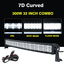 "32"" 300W 7D Curved LED Light Bar With Cross DRL CREE Chips Led Work Light Driving Lamp Combo Beam Truck SUV UTV 4x4 4WD Offroad"