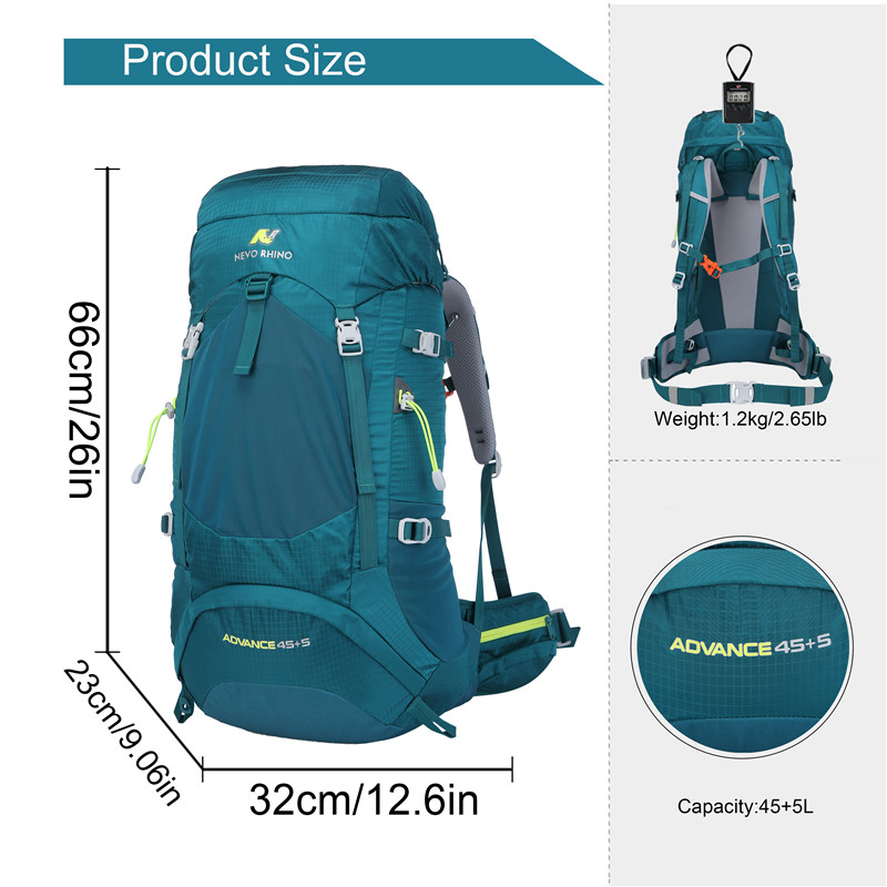 NEVO RHINO 50L Waterproof Mens Backpack Unisex Hiking Outdoor Mountaineering Climbing Bag