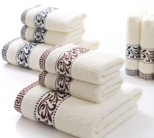 3-Pieces Embroidery Cotton Towel Set Face Towels Bath Towel Set For Adults maquiagem Washcloths Wedding Decoration Towels