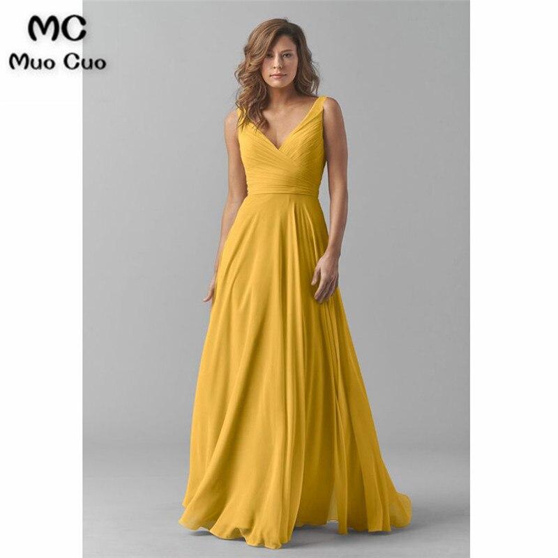 Sleeveless A Line V Neck Chiffon Long Bridesmaid Dress363