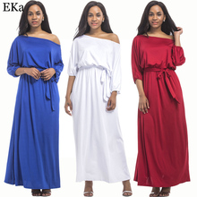 2017 Plus Size Women Half Lantern Sleeve Maxi Fashion Dress Slash Neck Long Dress Engagement Evening Party Floor Length Dress
