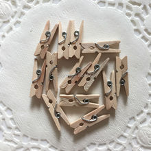 25x Mini Wooden Pegs Natural Bulk Clothespin Line Baby Shower Craft Cards Banner Clip 25mm