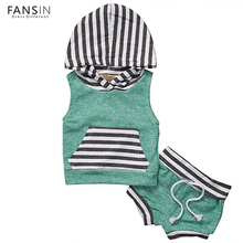 FANSIN Brand Newborn Baby Girls Boys Clothes Hooded Pullover Tops+Short Pants 2pcs Sets Outfits Clothing Children Kids Costume(China)