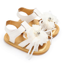 ROMIRUS Princess Flower Sandals for Girls Newborn Infant Summer Girls Crib Shoes Baby Sneakers Sandals Footwear White Pink Shoes(China)
