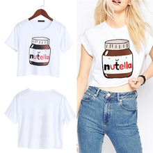 Buy 2017 Women Nutella Print Kawaii Crop Tops Summer Short Sleeve T Shirt Harajuku Fitness for $2.67 in AliExpress store