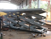 SJG3-2.6 Hydraulic Scissor Cargo Lift Platform Designed For Israel Client  With Two Scissor Bodies Structure