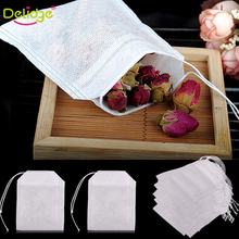 100Pcs/Lot Tea Bags String Heal Seal Filter Paper Teabag 6 x 8 CM For Herb Loose Disposable Teabags Rose Flower Tea Bags(China)