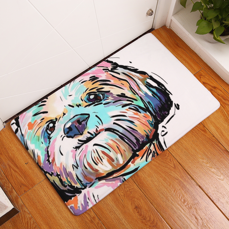 Flannel Floor Mats Dog Printed Bedroom Living Room Carpets Cartoon Pattern  Mat For Hallway Anti Slip Tapete   Us139