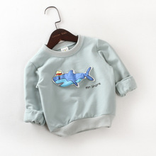 Buy New 2017 spring autumn children's cartoon shark long-sleeved T-shirt kids casual tops children's clothing tees for $13.90 in AliExpress store