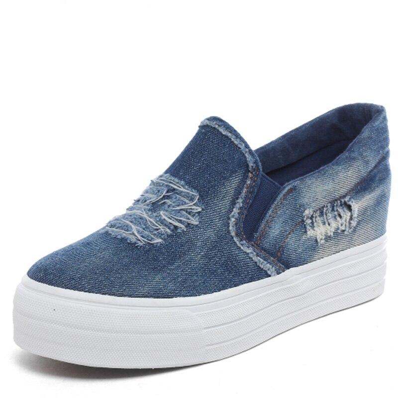 Jeans Women Canvas Shoes Cut-out Platform Casual Shoes Denim Ladies Flat Walking Shoes Chaussure Femme<br><br>Aliexpress