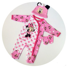 In Stock! Baby Cartoon Clothing Sets, Girls pink cute clothes hats + rompers + gloves 3pcs clothes a80
