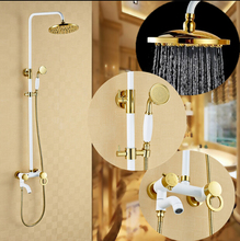 Luxury High Quality Gold & white Bathroom Rainfall Shower Set, Shower Faucet Euro-style Bath & Shower Faucet Set, Wall Mounted