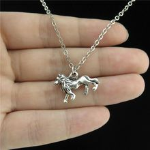 Q2049 21-5 Free Shipping Silver Alloy Girls Women Jewelry Animal Running Lion Pendant Short Collar Chunky Necklace 18""
