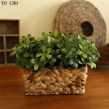 High grade simulation flower 7 bunches small cuckoo leaves plastic flowers decorative home rranging green artificial plants