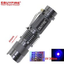 mini flashlight CREE UV 395nm LED zoom Flash light Ultra Violet AA 14500 Torch Adjustable Focus Zoomable Lamp Dimmable  light